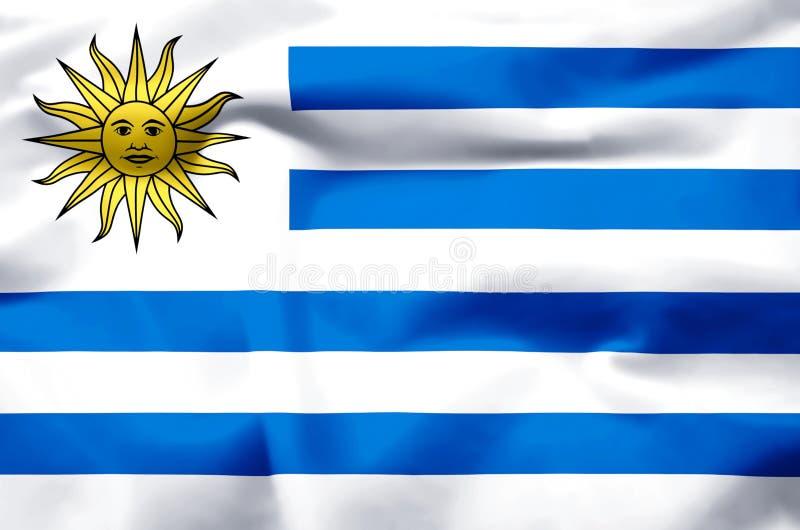 Realistische Flaggenillustration Uruguays vektor abbildung