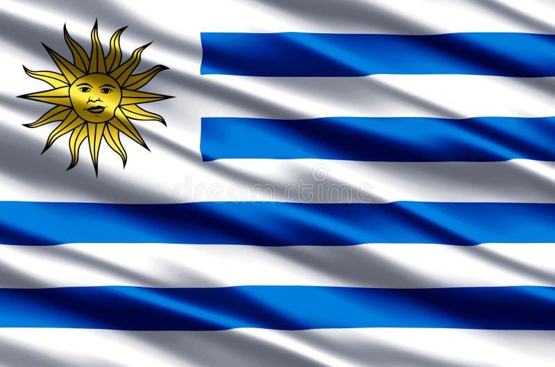 Realistische Flaggenillustration Uruguays stock abbildung
