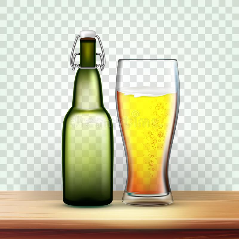 Realistische Flasche und Glas mit schaumigem Bier-Vektor stock abbildung