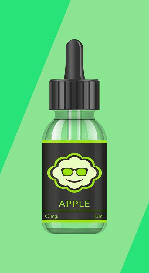 Realistische Flaschen verspotten oben mit Geschmäcken für eine elektronische Zigarette mit verschiedenen Fruchtaromen Tropfflasch lizenzfreie abbildung