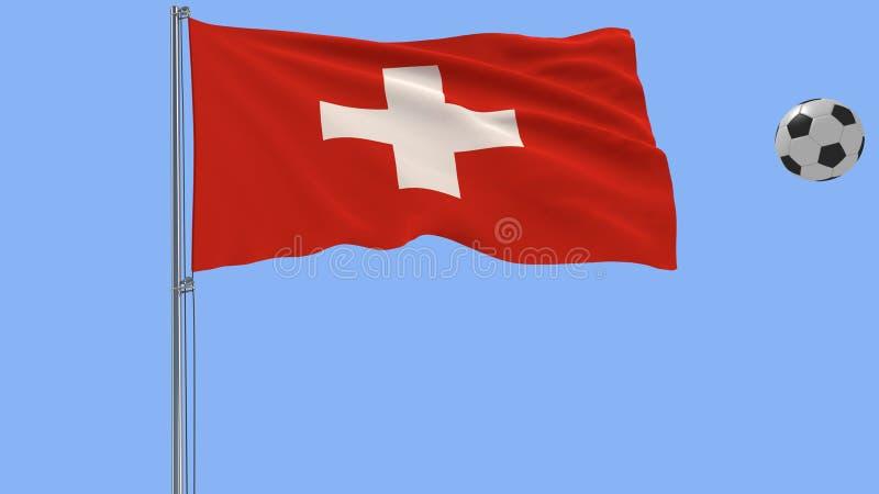 Realistische flatternde Flagge von der Schweiz und von Fußball, die herum auf einen blauen Hintergrund, Wiedergabe 3d fliegen stockfoto