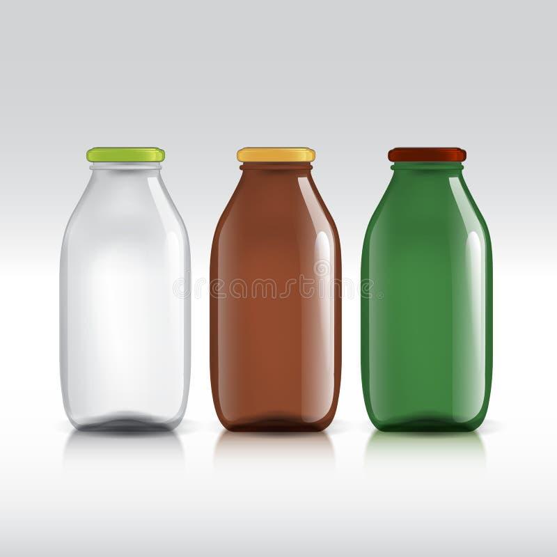 Realistische flessen glas pakket voor melk vector illustratie