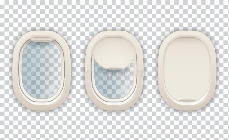 Realistische Flugzeugöffnung, Luftfahrt und Tourismusbild vektor abbildung