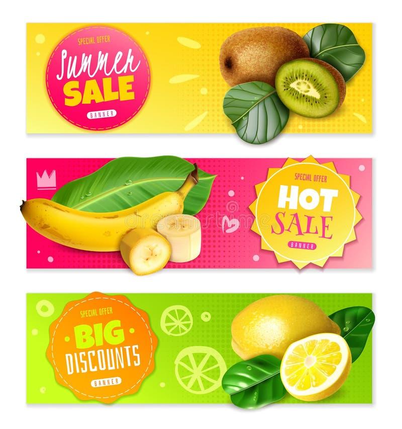 Realistische fruit horizontale banners Modieus, helder Voor verkoop en kortingen Op roze, gele en groene achtergrond vector illustratie