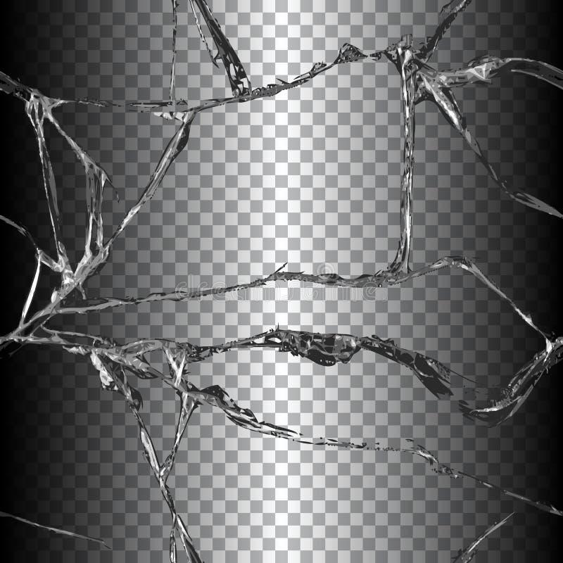 Realistische gebroken glasillustratie stock illustratie
