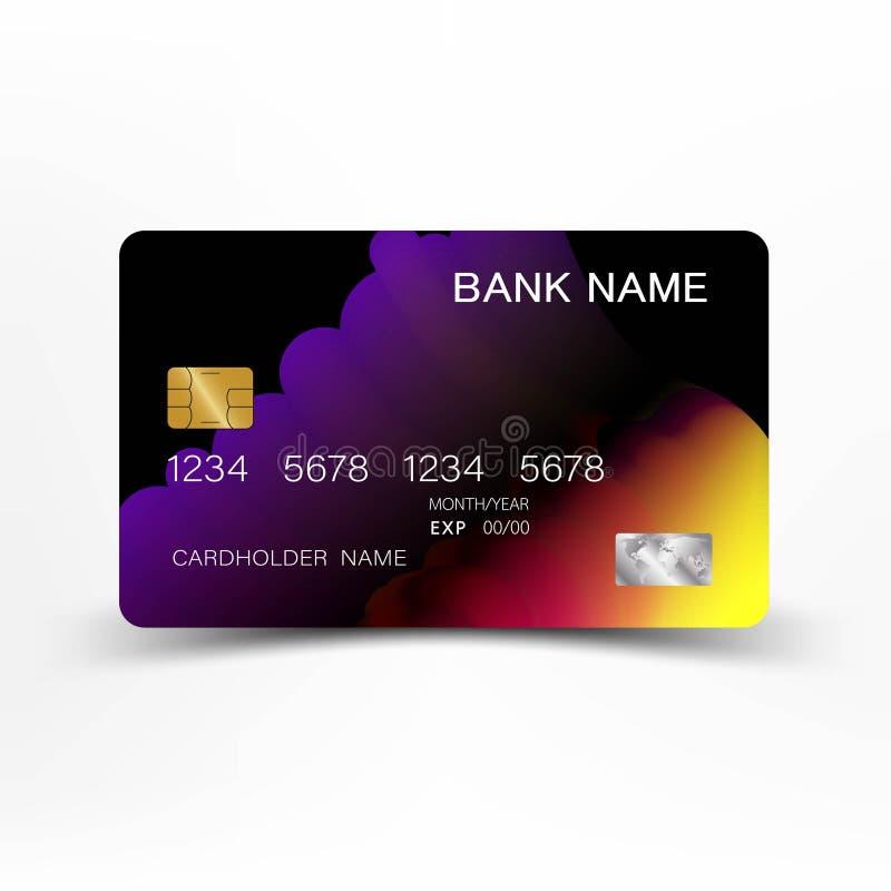 Realistische gedetailleerde creditcard Kleurrijke kleur op de grijze achtergrond royalty-vrije illustratie
