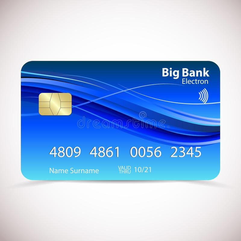 Realistische gedetailleerde creditcard met zacht abstract geometrisch blauw die ontwerp, op witte achtergrond wordt geïsoleerd Ve royalty-vrije illustratie