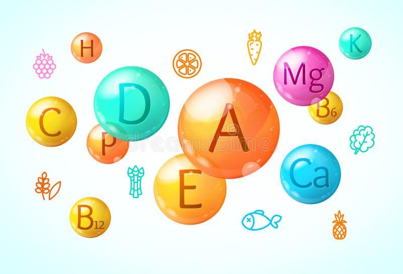 Realistische Gedetailleerde 3d Dalingsvitamine en Minerale Kaart Als achtergrond Vector vector illustratie