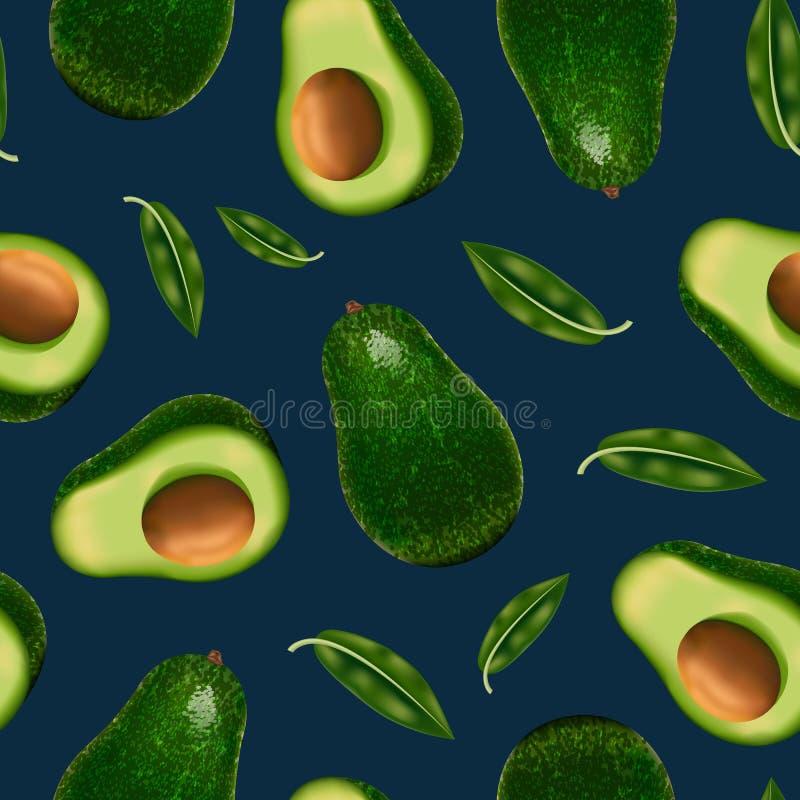 Realistische Gedetailleerde 3d Gehele Avocado en Plak Naadloze Patroonachtergrond Vector stock illustratie