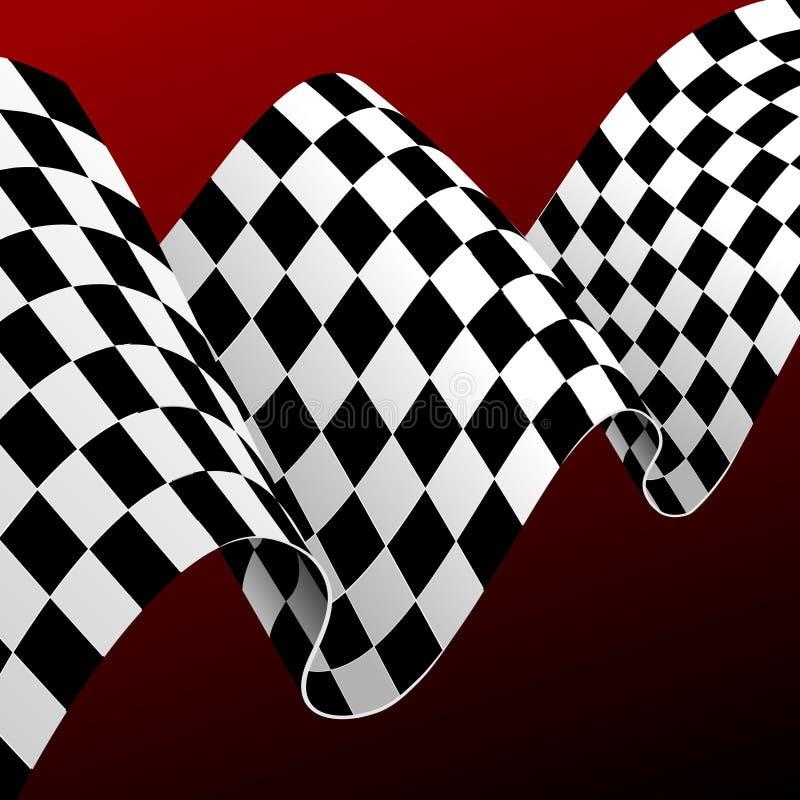 Realistische Gedetailleerde 3d Geruite het Rennen de Kaartachtergrond van het Vlagconcept Vector royalty-vrije illustratie