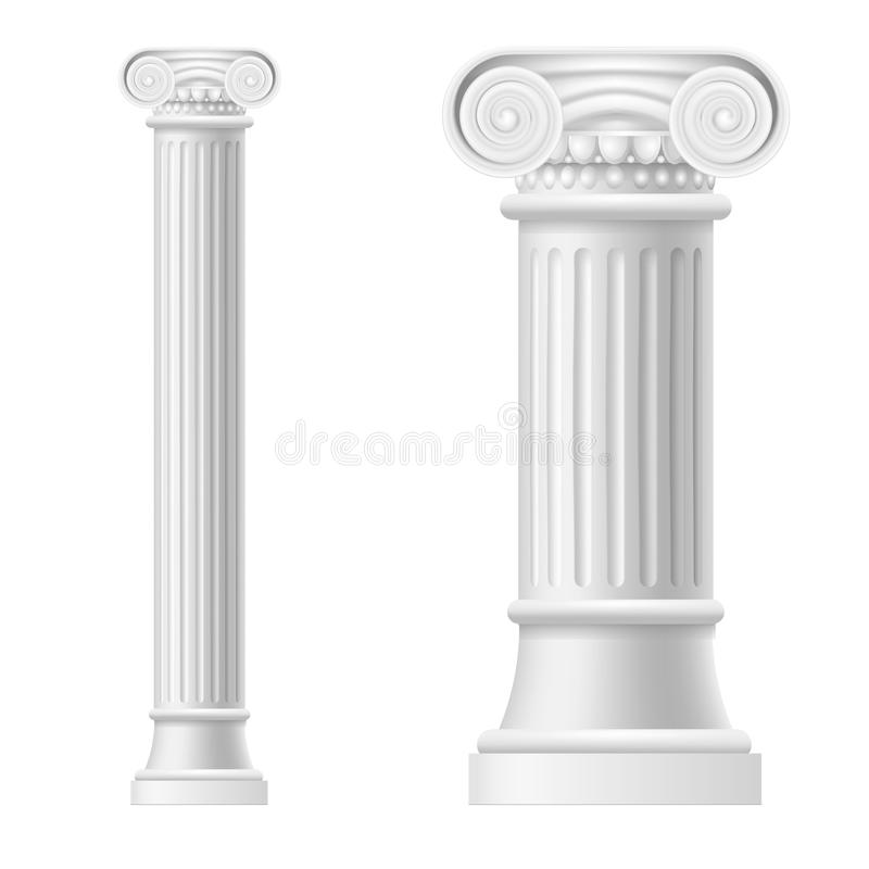Realistische Gedetailleerde 3d Witte Lege Ionische het Modelreeks van het Kolommalplaatje Vector stock illustratie