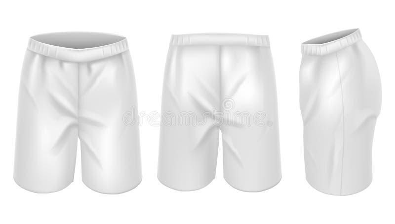 Realistische Gedetailleerde 3d Witte Lege Korte het Modelreeks van het Kokersmalplaatje Vector stock illustratie