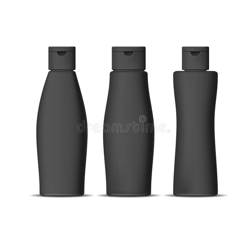 Realistische Gedetailleerde 3d Zwarte Geplaatste Shampooflessen Vector vector illustratie