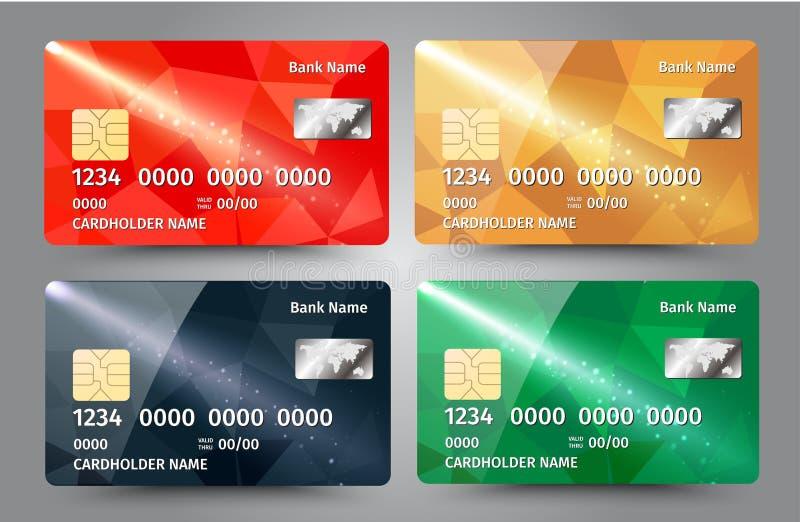 Realistische gedetailleerde die creditcards met kleurrijke driehoekige ontwerpachtergrond worden geplaatst royalty-vrije illustratie
