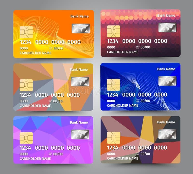 Realistische gedetailleerde die creditcards met kleurrijke driehoekige ontwerpachtergrond worden geplaatst vector illustratie