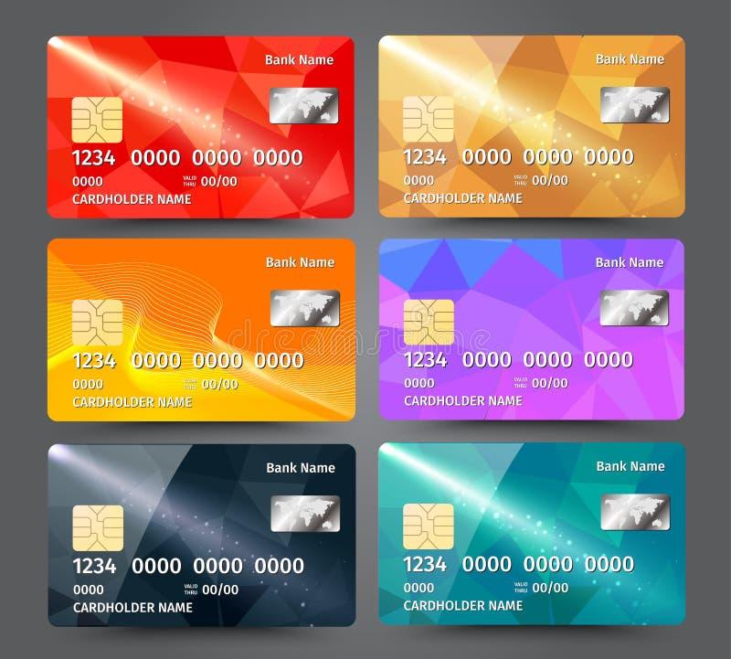 Realistische gedetailleerde die creditcards met kleurrijke driehoekige ontwerpachtergrond worden geplaatst stock illustratie