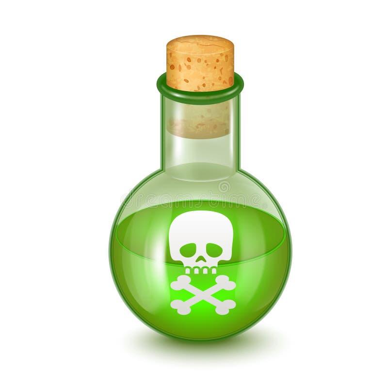 Realistische Gedetailleerde Glasfles van Groen Giftig Vergift Vector vector illustratie