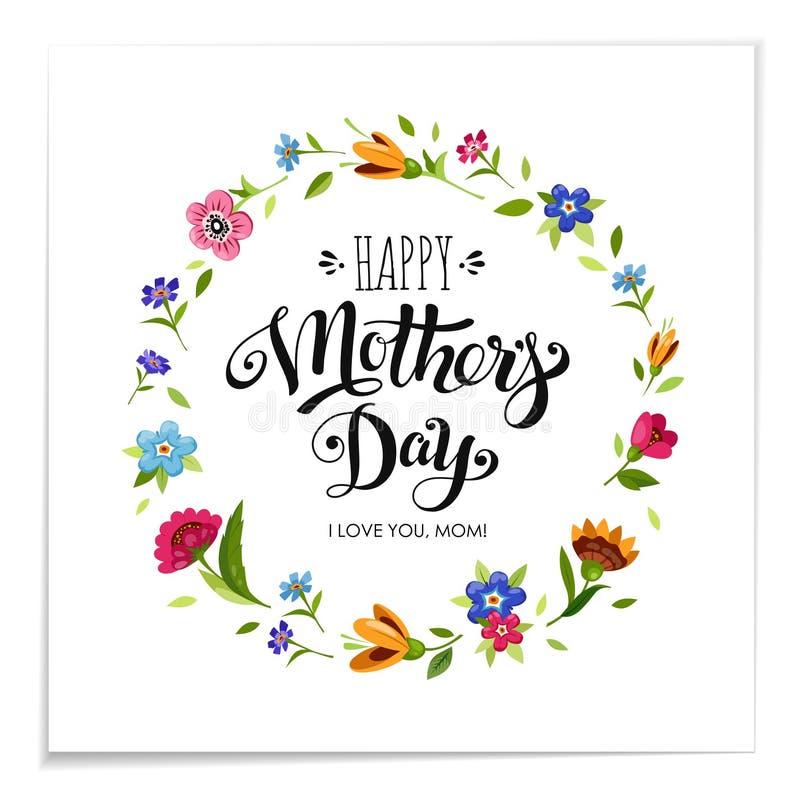 Realistische Gelukkige de vakantiekaart van de Moedersdag Elegante die hand het van letters voorzien Gelukkige Moedersdag in bloe stock illustratie