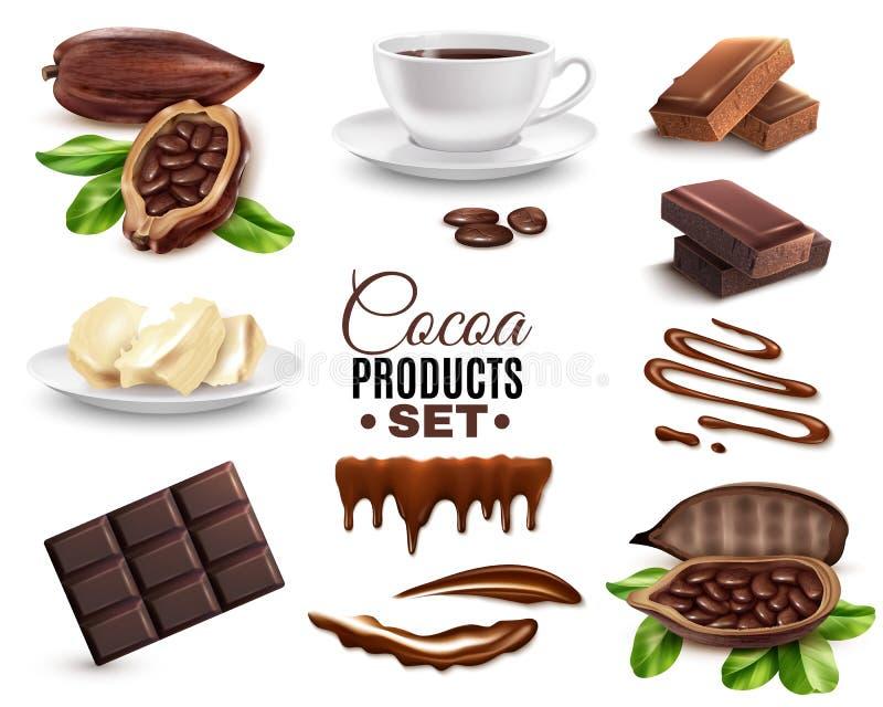 Realistische Geplaatste Cacaoproducten royalty-vrije illustratie