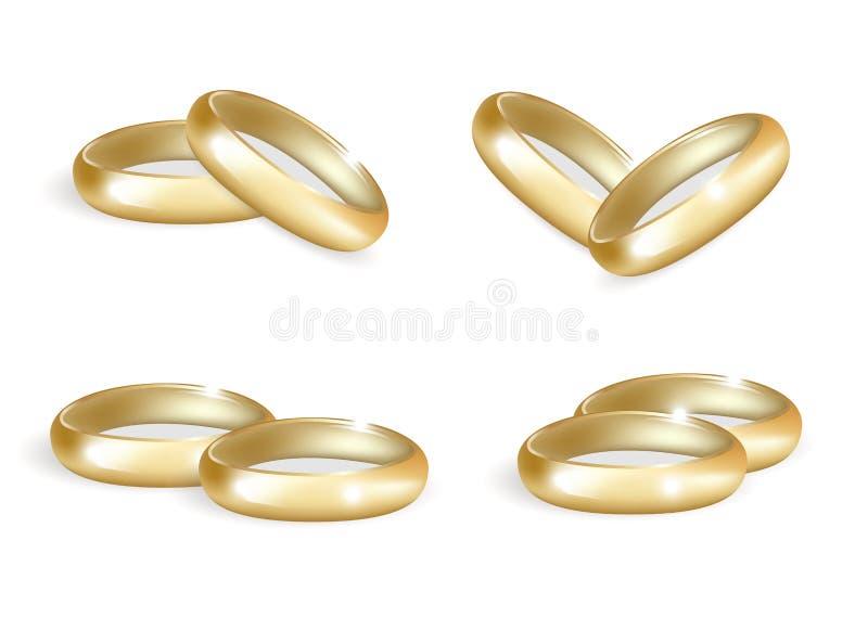 Realistische geplaatste huwelijks gouden ringen 3d bandeninzameling op witte achtergrond wordt geïsoleerd die Vector illustratie stock illustratie