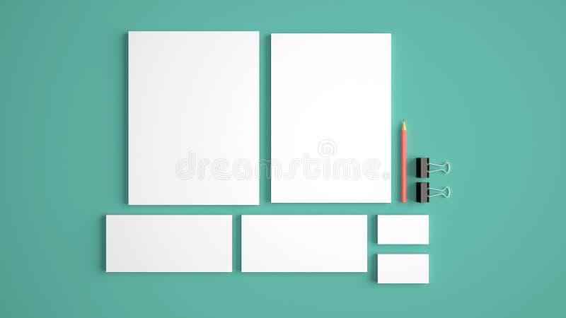 Realistische Geplaatste Kantoorbehoeftenmodellen Briefhoofd, naamkaart, envelop, presentatieomslag royalty-vrije stock afbeelding