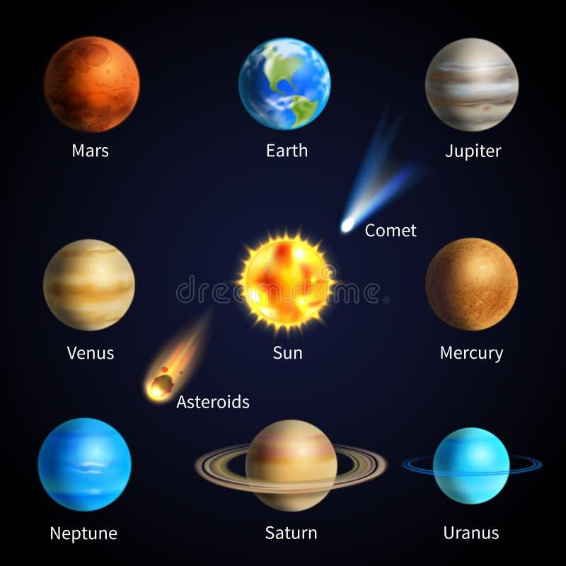 Realistische Geplaatste Planeten vector illustratie