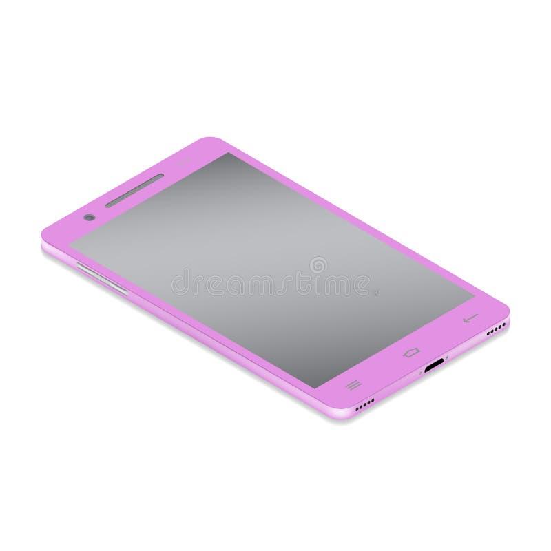 Realistische glamour roze smartphone cellulair in isometry op een witte achtergrond royalty-vrije illustratie