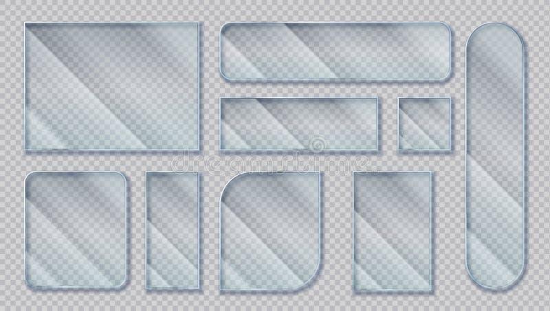 realistische glasbanners Transparant venstereffect, duidelijke acrylvormen met glansbezinningen Vector ge?soleerd plastiek royalty-vrije illustratie