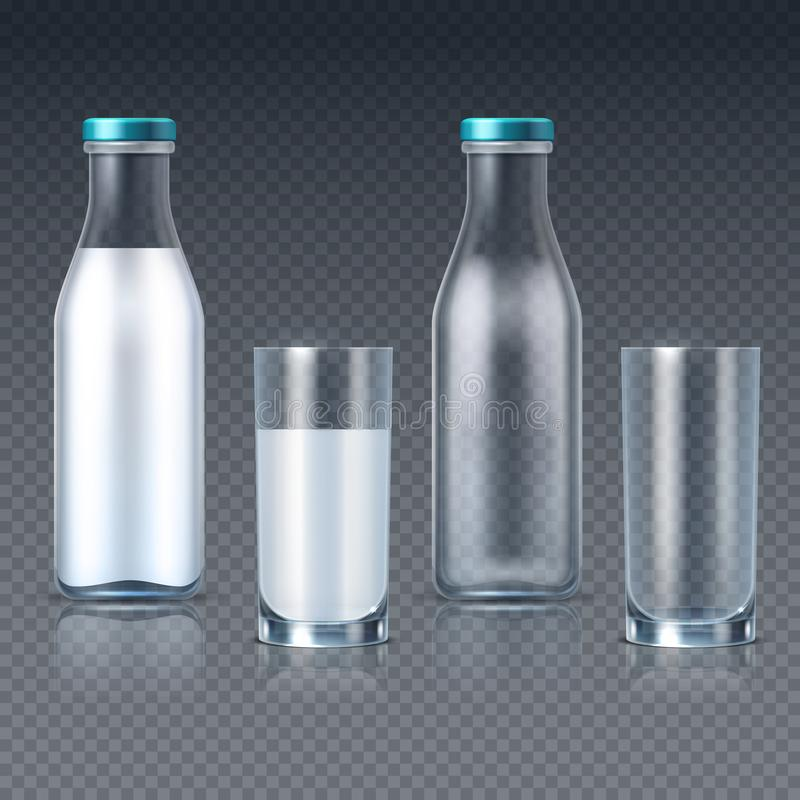 Realistische glasflessen en glazen met geïsoleerde melk vectormalplaatjes stock illustratie