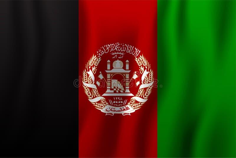 Realistische golvende de vlag vectorillustratie van Afghanistan genaturaliseerd stock illustratie
