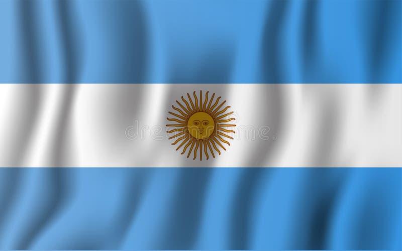 Realistische golvende de vlag vectorillustratie van Argentinië Nationale mede royalty-vrije illustratie