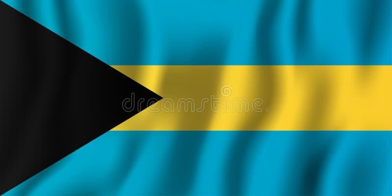 Realistische golvende de vlag vectorillustratie van de Bahamas Nationale coun stock illustratie
