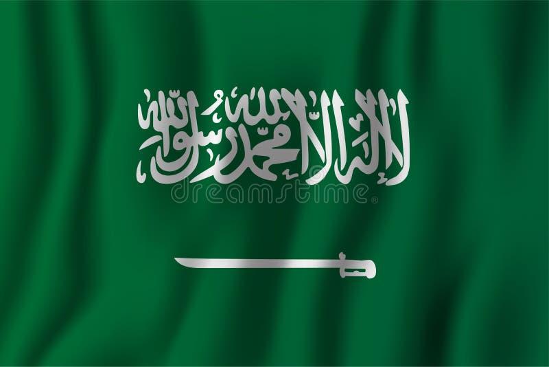 Realistische golvende de vlag vectorillustratie van Saudi-Arabië Nationaal van het land symbool als achtergrond De achtergrond va stock illustratie