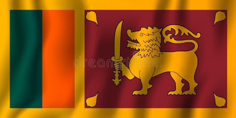 Realistische golvende de vlag vectorillustratie van Sri Lanka Nationaal van het land symbool als achtergrond De achtergrond van d vector illustratie
