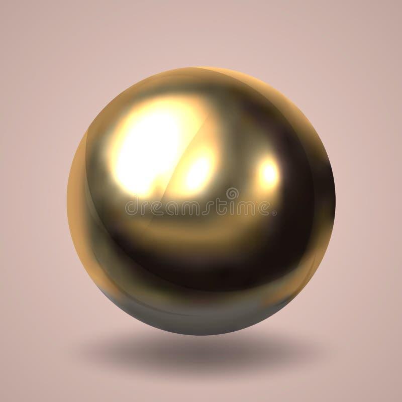 Realistische gouden bal Lichtpaarse achtergrond Vector illustratie vector illustratie