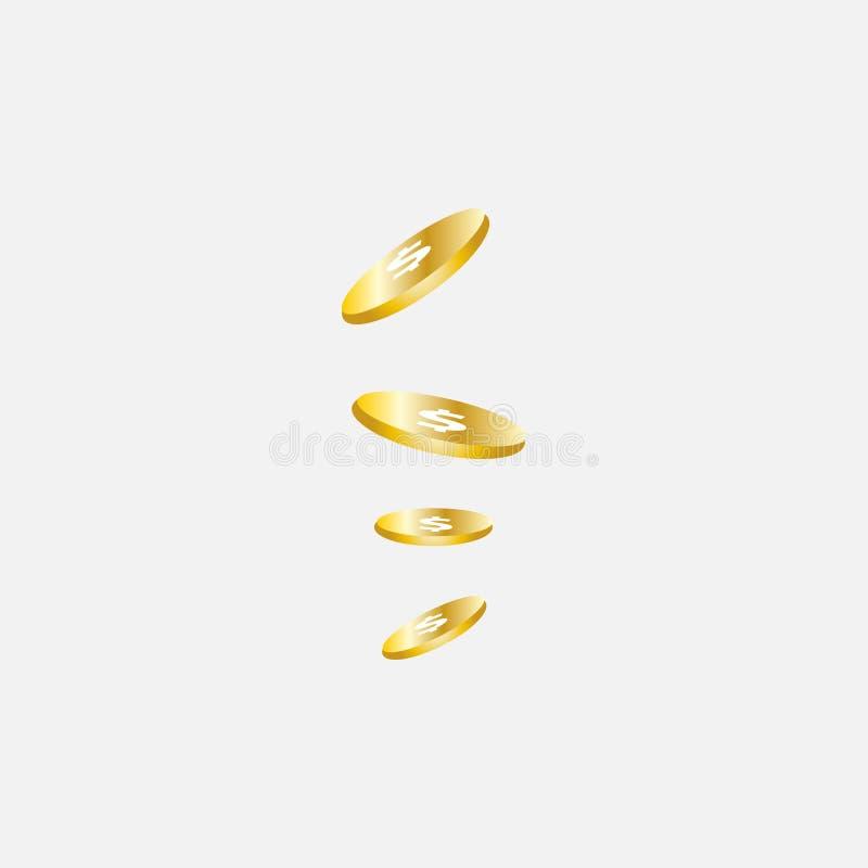 Realistische Gouden muntstukkenexplosie Geïsoleerd op transparante achtergrond vector illustratie