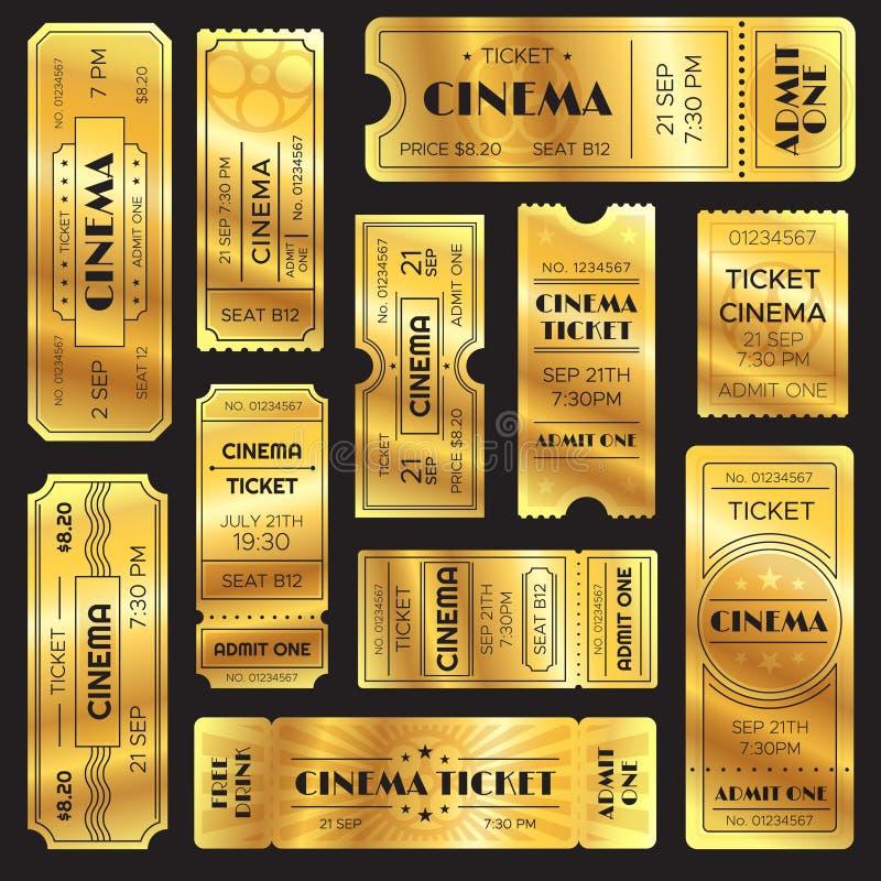 Realistische gouden toont kaartje Oude de ingangskaartjes van de premiebioskoop De gouden toelating aan bioscoop of vermaak toont royalty-vrije illustratie