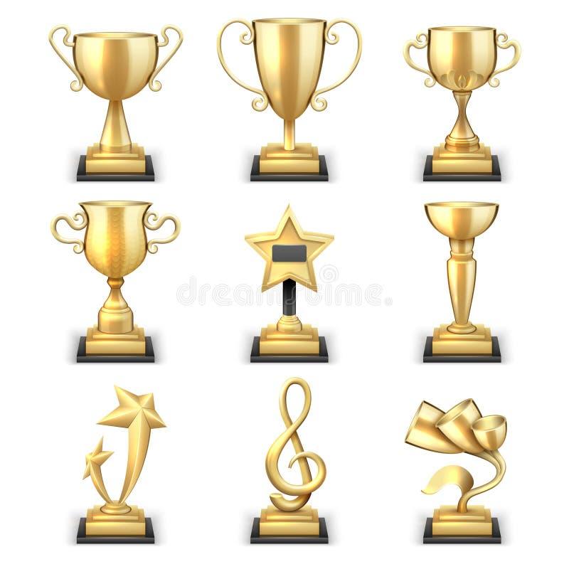Realistische gouden van trofeekoppen en sporten toekennings vectorreeks royalty-vrije illustratie