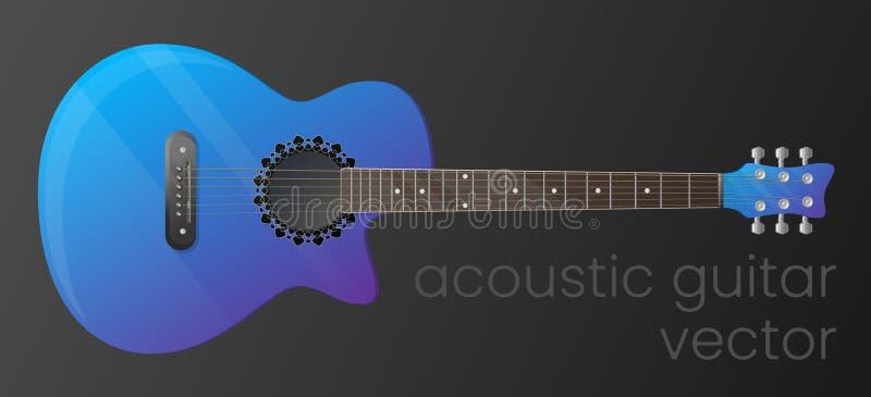 Realistische gradiënt akoestische gitaar die op donkere achtergrond wordt geïsoleerd Het meest gedetailleerd Vector, scalable en  stock illustratie