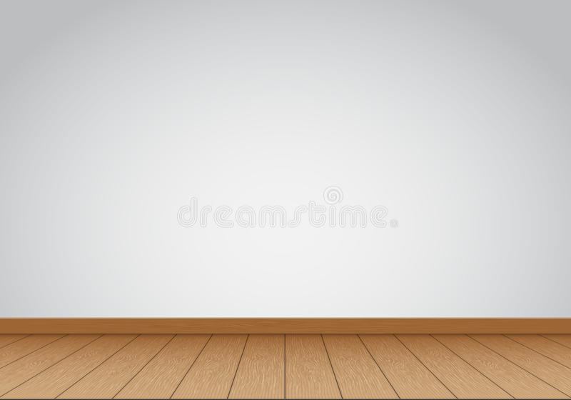 Realistische grijze muurspatie met bruine houten vloer binnenlandse vector als achtergrond royalty-vrije illustratie