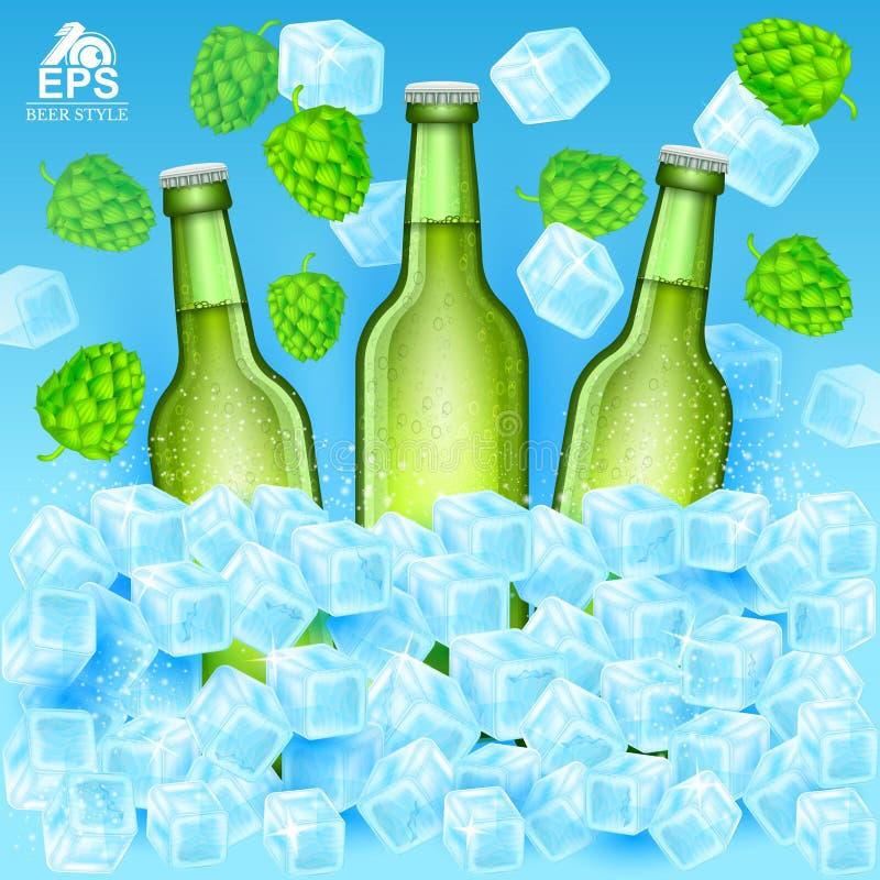 Realistische groene fles drie biertribune in ijsblokjes onder vliegende hopkegels en ijs op blauw vector illustratie
