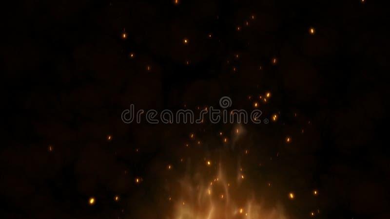 Realistische grote brand met hete vonkenstijging van de nachthemel Brandende vlam op een abstracte achtergrond met een licht royalty-vrije illustratie