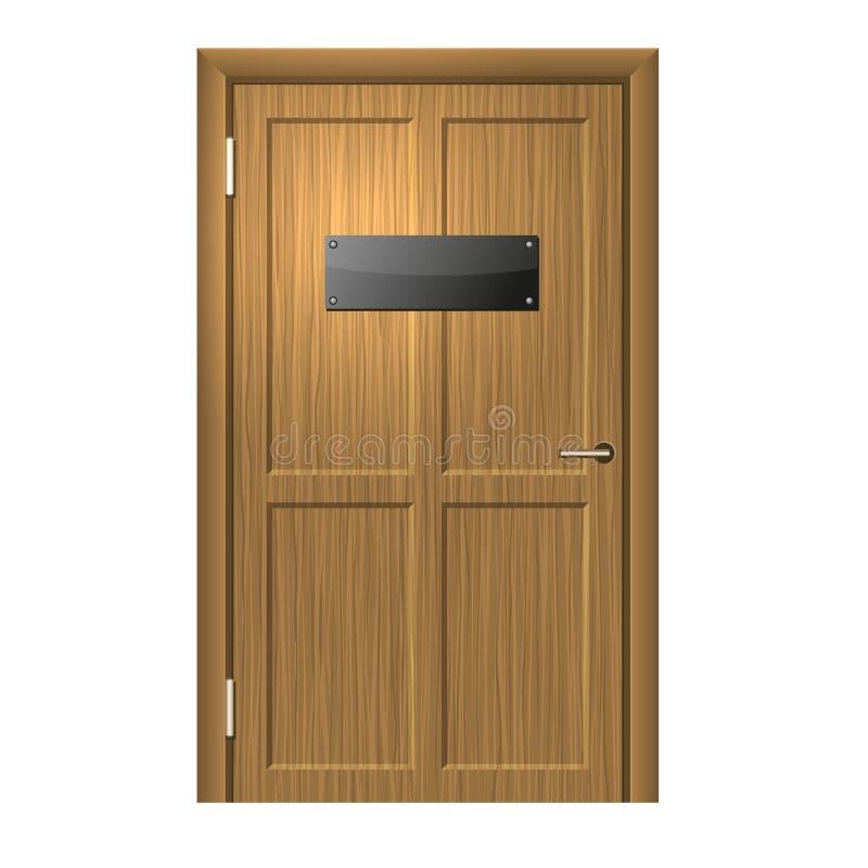 Realistische hölzerne Tür mit Blanc-Schwarzblech. lizenzfreie abbildung