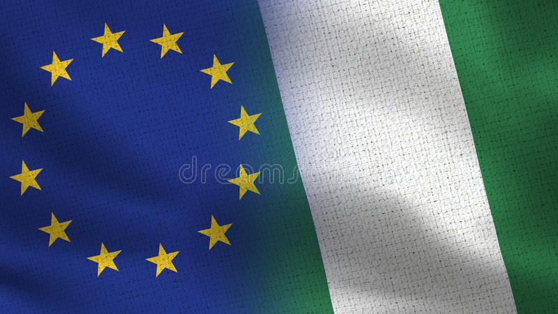 Realistische halbe Flaggen EU und Naurus zusammen lizenzfreies stockfoto