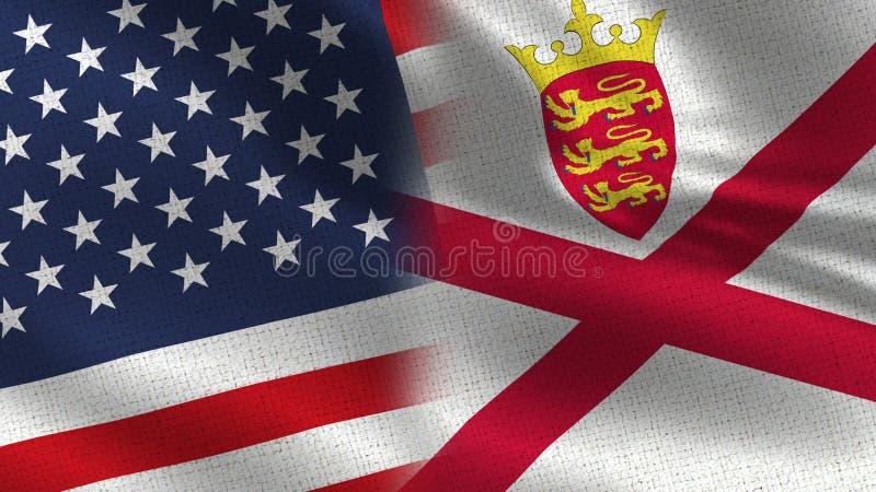 Realistische halbe Flaggen USA Jersey zusammen lizenzfreies stockbild