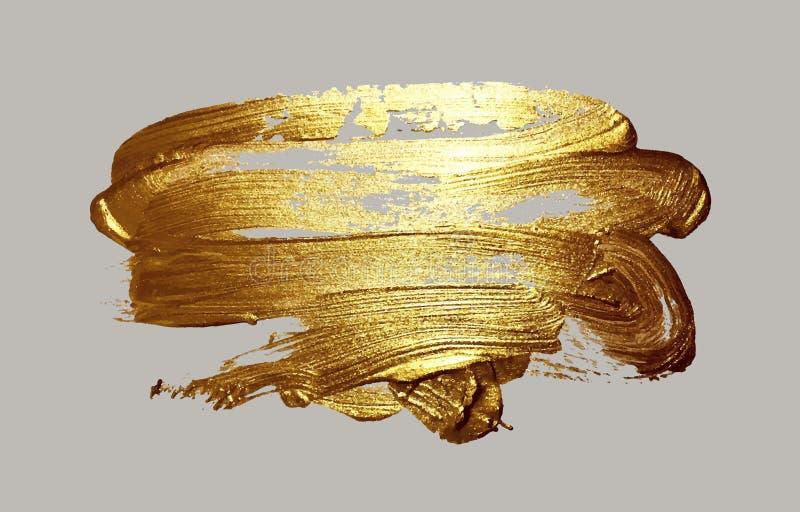 Realistische Hand, die goldene Bürstenanschlag-Farbenstelle zeichnet vektor abbildung