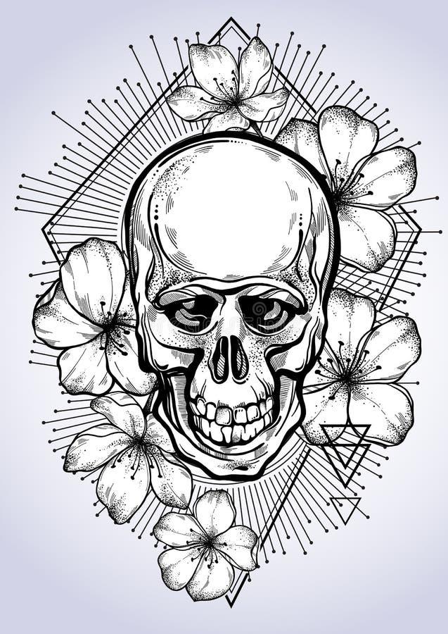 Realistische hand getrokken menselijke schedel met bloemen van appel en heilige meetkunde Vectorillustratie in bohostijl stock afbeeldingen