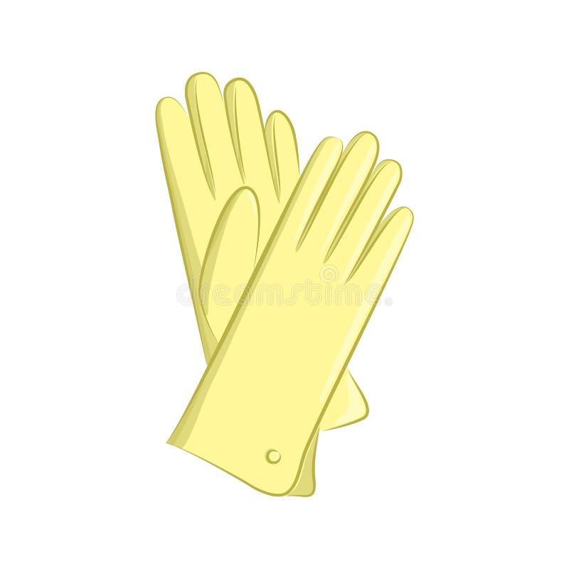 Realistische handschoenen De vrouwen vormen Toebehoren Het gele die voorwerp op witte achtergrond wordt geïsoleerd Vectorbeeldver stock illustratie