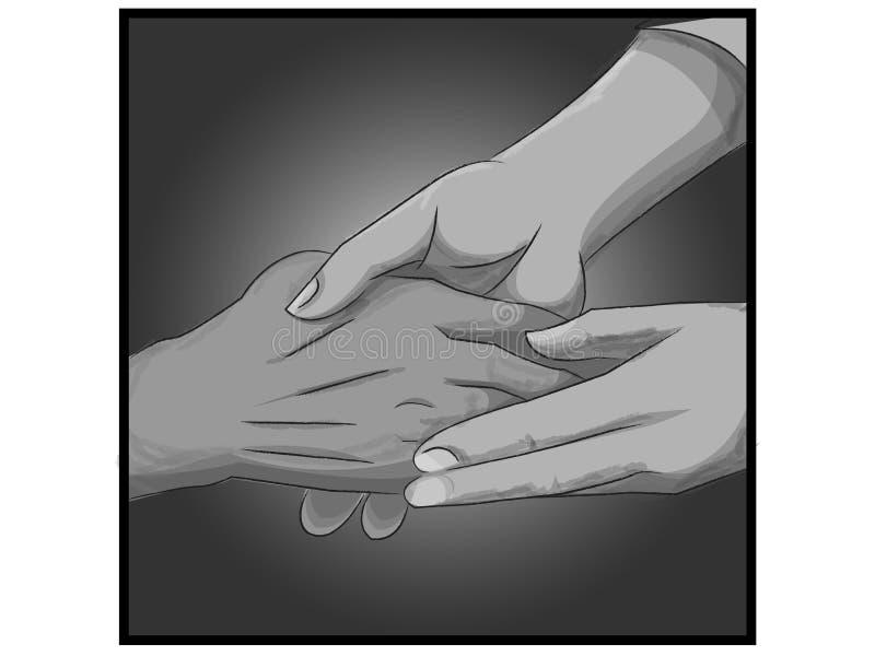 Realistische helpende handen die een andere hand houden vector illustratie