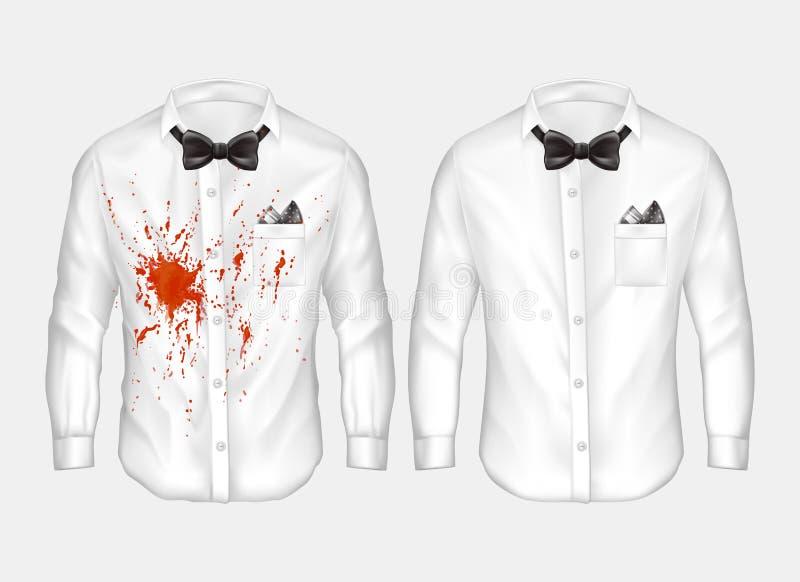 realistische Hemden vor und nach dem Waschen stock abbildung